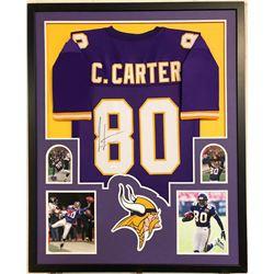 Cris Carter Signed Minnesota Vikings 35x43 Custom Framed Jersey (JSA COA)