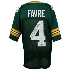Brett Favre Signed Green Bay Packers Jersey with (5) Career Stat Inscriptions (Favre COA)