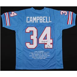"Earl Campbell Signed Houston Oilers Career Highlight Stat Jersey Inscribed ""HOF 91"" (JSA COA)"
