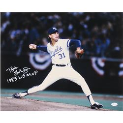 "Bret Saberhagen Signed Kansas City Royals 16x20 Photo Inscribed ""1985 WS MVP"" (JSA COA)"