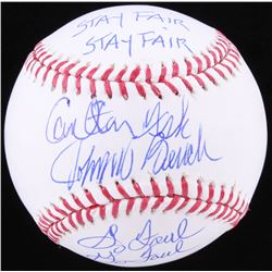 "Carlton Fisk  Johnny Bench Signed OML Baseball Inscribed ""Stay Fair""  ""Go Foul"" (JSA COA)"