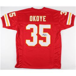 Christian Okoye Signed Kansas City Chiefs Jersey (JSA COA)