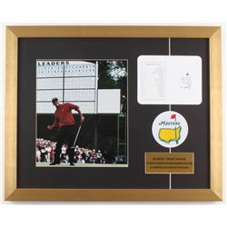 """Tiger Woods """"The Masters"""" 17x21 Custom Framed Photo Display with Scorecard  Patch"""