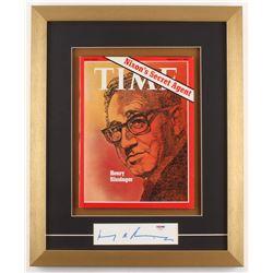 Henry Kissinger Signed 15.5x19 Custom Framed Cut (PSA COA)
