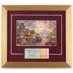 Disneyland 13x14.5 Custom Framed Thomas Kinkade Print Display with Vintage Ticket