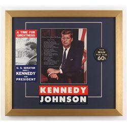 John F. Kennedy 18x20 Custom Framed Photo Display with Vintage Pin  Bumper Sticker