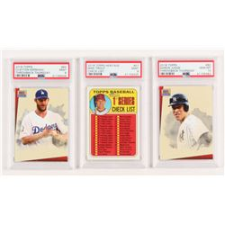 Lot of (3) PSA Graded 2018 Topps Baseball Cards with Hertitage #57 Mike Trout Checklist (PSA 9), #80