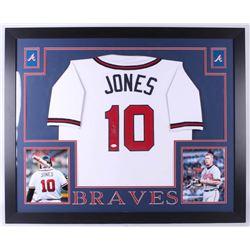 Chipper Jones Signed Atlanta Braves 35x43 Custom Framed Jersey (JSA COA)