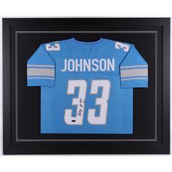 Kerryon Johnson signed Detroit Lions 35.5x43.5 Custom Framed Jersey (Radtke COA)