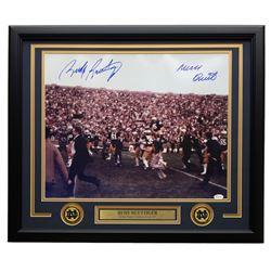 "Rudy Ruettiger Signed Notre Dame Fighting Irish 22x27 Custom Framed Photo Display Inscribed ""Never Q"