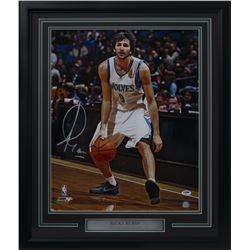 Ricky Rubio Signed Minnesota Timberwolves 22x27 Custom Framed Photo Display (PSA COA)