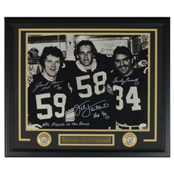 Jack Ham, Jack Lambert  Andy Russell Signed Pittsburgh Steelers 22x27 Custom Framed Photo with (6) I