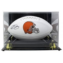 Odell Beckham Jr. Signed Cleveland Browns Logo Football with High-Quality Display Case (JSA COA)