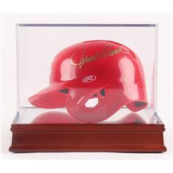 """Joe Morgan  Johnny Bench Signed Cincinnati Reds Mini Batting Helmet Inscribed """"75-76 WS Champs"""" (Bec"""