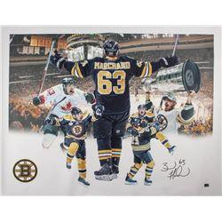 Brad Marchand Signed Boston Bruins 34x44 Canvas (Bergeron COA)