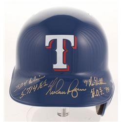Nolan Ryan Signed Texas Rangers Full-Size Batting Helmet with (4) Career Highlight Stat Inscriptions