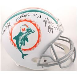"Dan Marino, Mark Clayton  Mark ""Super"" Duper Signed Miami Dolphins Full-Size Throwback Helmet (Radtk"