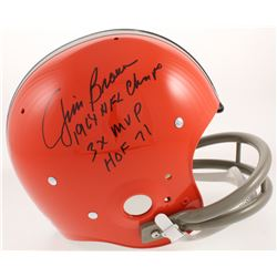 Jim Brown Signed Cleveland Browns Full-Size Suspension Helmet with (3) Inscriptions (Beckett COA)
