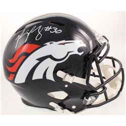 Phillip Lindsay Signed Denver Broncos Full-Size Authentic On-Field Blue Flame Hydro Dip Speed Helmet