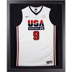 "Michael Jordan Signed Team USA 32x44 Custom Framed Limited Edition Jersey Inscribed ""HOF 2009"" (UDA"