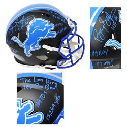 Barry Sanders Signed Detroit Lions Matte Black Full-Size Authentic On-Field Speed Helmet with (7) In