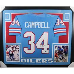 Earl Campbell Signed Oilers 35x43 Custom Framed Jersey (Campbell Hologram)