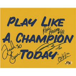 Notre Dame Fighting Irish 8x10 Photo Signed by (4) with Frank Stams, Mike Stonebreaker, Chris Zorich