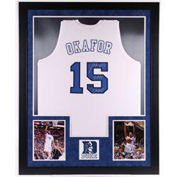 """Jahlil Okafor Signed Duke Blue Devils 35.5x43.5 Custom Framed Jersey Display Inscribed """"2015 Champs"""""""