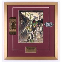 "Leroy Neiman ""Broadway Joe Namath"" 20.5x22 Custom Framed Print Display With 23KT Super Bowl Ticket"