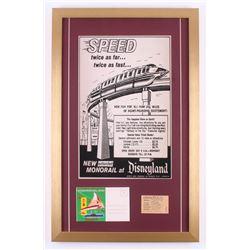"""Disneyland """"Monorail"""" 17x27 Custom Framed Vintage Poster Display with Vintage Ticket  Postcard"""