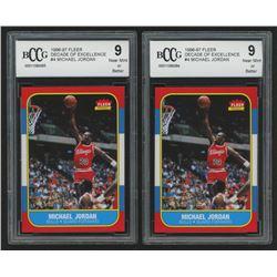 Lot of (2) Beckett Graded 9 1996-97 Fleer Decade of Excellence #4 Michael Jordan