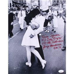 """George Mendonsa Signed """"The Kiss"""" 11x14 Photo with Extensive Inscription (Beckett COA)"""