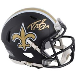 Drew Brees Signed New Orleans Saints Custom Matte Black Mini Speed Helmet (Fanatics Hologram)