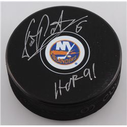 Denis Potvin Signed New York Islanders Logo Hockey Puck Inscribed  HOF 91  (MAB Hologram)