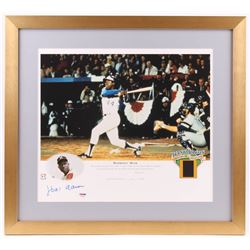 "Hank Aaron Signed Milwaukee Braves  LE ""Hammerin' Hank"" 19.5x22 Custom Framed Photo Display (PSA COA"