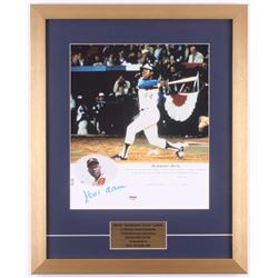 Hank Aaron Signed Atlanta Braves LE 17x21 Custom Framed Photo Display (PSA COA)