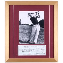 Sam Snead Signed 15.5x18 Custom Framed Check Display (PSA LOA)