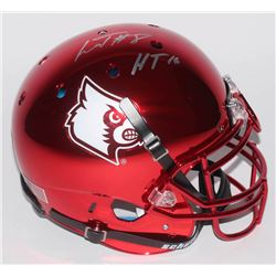 "Lamar Jackson Signed Louisville Cardinals Full-Size Authentic On-Field Chrome Helmet Inscribed ""HT '"