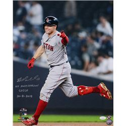 "Brock Holt Signed Boston Red Sox 16x20 Photo Inscribed ""1st Postseason Cycle 10-8-18"" (JSA COA)"