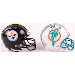 Lot of (2) Mini-Helmets with (1) Ricky Williams Signed Miami Dolphins Throwback  (1) Antonio Brown S