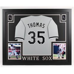 Frank Thomas Signed Chicago White Sox 35x43 Custom Framed Jersey (JSA COA)