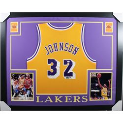 Magic Johnson Signed Los Angeles Lakers 35x43 Custom Framed Jersey (JSA COA)