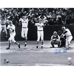 Carlton Fisk Signed Boston Red Sox1975 World Series 16x20 Photo (JSA COA  Sure Shots Hologram)
