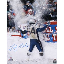 "Tedy Bruschi Signed New England Patriots ""Snow Bowl"" 16x20 Photo (JSA COA  Sure Shot Promotions Holo"