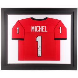 Sony Michel Signed Georgia Bulldogs 35x43 Custom Framed Jersey (Radtke COA)