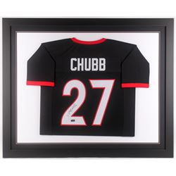 Nick Chubb Signed Georgia Bulldogs 35x43 Custom Framed Jersey (Radtke COA)