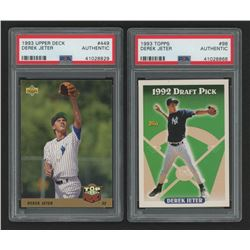 Lot of (2) PSA Authentic Derek Jeter Baseball Cards with 1993 Topps #98  1993 Upper Deck #449