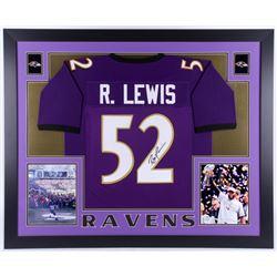 Ray Lewis Signed Baltimore Ravens 35x43 Custom Framed Jersey (JSA COA)