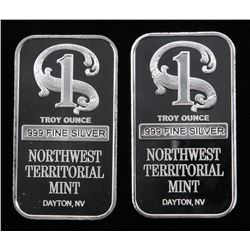 Lot of (2) 1 Troy Oz .999 Fine Silver Northwest territorial Mint Bullion Bars