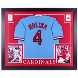 Yadier Molina Signed St. Louis Cardinals 35x43 Custom Framed Jersey (Beckett COA)